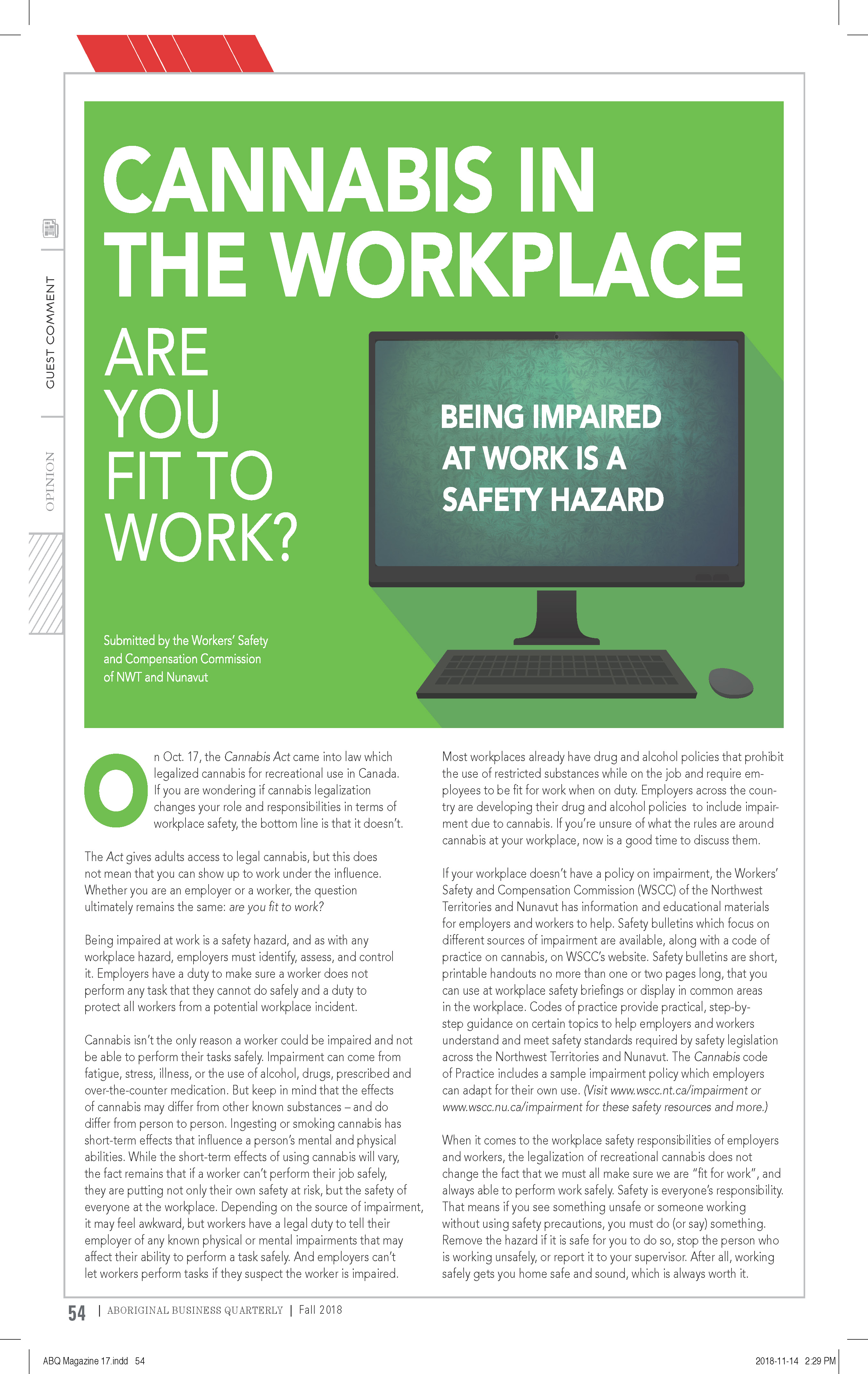 Aboriginal Business Quarterly Magazine - Fall 2018 - Page 54 - Cannabis in the Workplace
